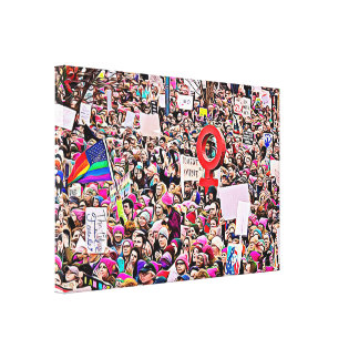 Womens March Rally Protest Wrapped Canvas Wall Art