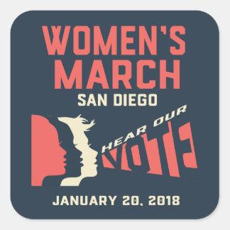 Women's March San Diego S Square Sticker