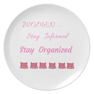 WOMEN'S MARCH STAY INFORMED STAY ORGANIZED PLATE