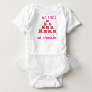 WOMEN'S MARCH WE RISE  NO APOLOGIES BABY BODYSUIT