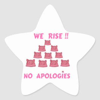 WOMEN'S MARCH WE RISE  NO APOLOGIES STAR STICKER