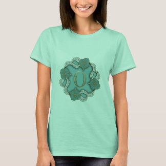 Women's Mint T-Shirt with Leaves Interlace Design