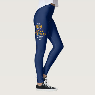 "WOMEN'S ""MOM/NAVY VETERAN"" SPANDEX LEGGINGS"