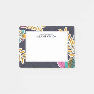 Women's Navy Blue Floral Personalized Post-it Notes