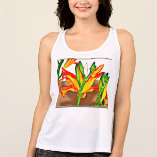 "Women's NB Tank Top ""Tiger Lilies""."