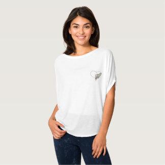 Women's Open Heart White Flowy T-shirt
