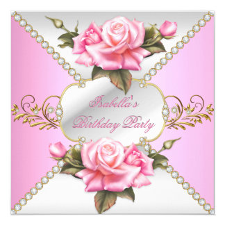 "Women's or Girls Pretty Pink Roses Birthday Party 5.25"" Square Invitation Card"