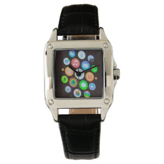 Women's Perfect Square Black Leather Strap Watch W