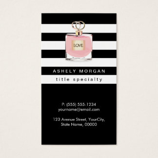 Womens Perfume Fragrances Shop Black White Stripes Business Card