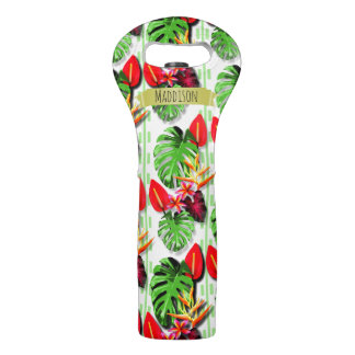 Women's Personalized Tropical Leaf Flower Wine Bag