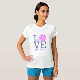Women's Pickleball Double-Dry V-Neck T-shirt LOVE