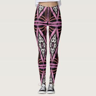 Women's Pink Black and White Design Leggings