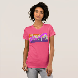 womens pink t shirt with daisy design