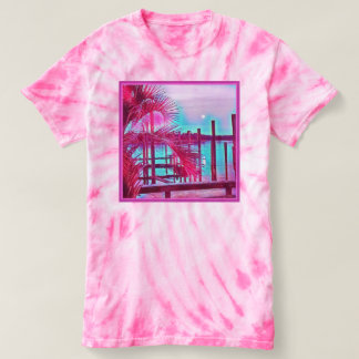 Womens pink tie-dye shirt-tropical t-shirt