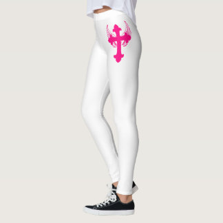 Womens Pink & White Cross With Wing Leggings