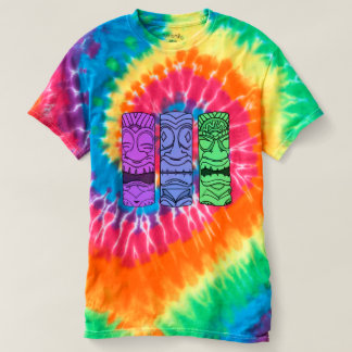 Women's Pop Art Tiki Head Tie Dye Tee