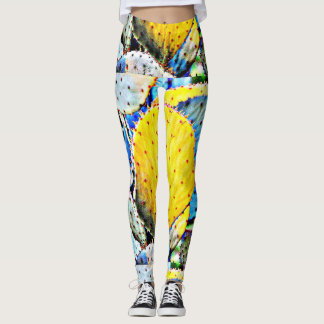 Women's Purple/Yellow Cactus Leggings