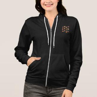 Women's raglan zip hoodie with pumpkins and leaves