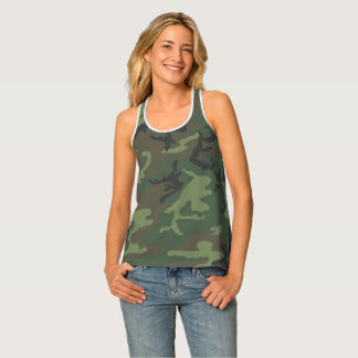 Women's razor back all-over camouflage tank top