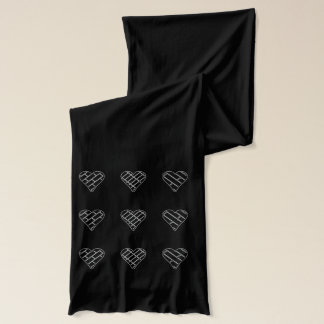 Womens Red Decorative Black Hearts Scarf