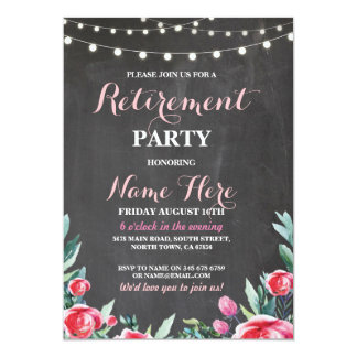 Women's Retirement Party Chalk Red Floral Invite