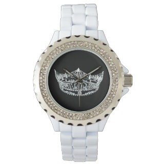 Womens Rhinestone Pageant Crown Watch