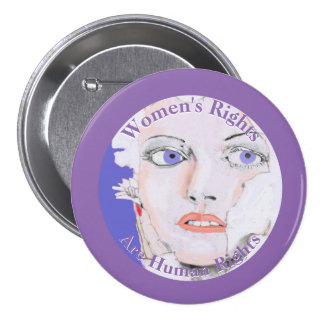 Women's Rights are Human Rights Drawing of Woman 3 Inch Round Button