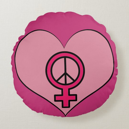 Womens Rights Protest Heart Feminist Round Pillow