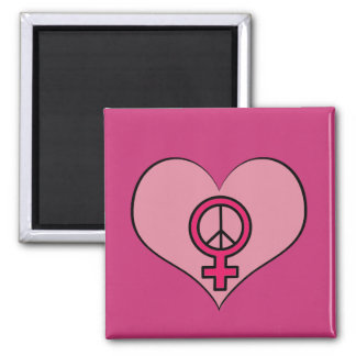 Womens Rights Protest Heart Feminist Square Magnet