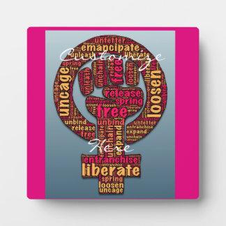 women's rights raised fist 2017 LGBTQIA Plaque