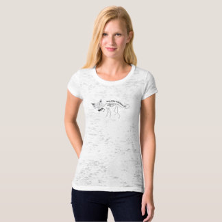 Women's Skeleton Cat Canvas Fitted Burnout T-Shirt