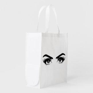 Womens Sketch Eyes Reuseable Bag