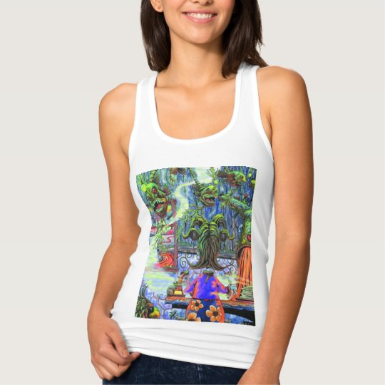 Women's Slim Fit Racerback Cooking on Lava Tank Top
