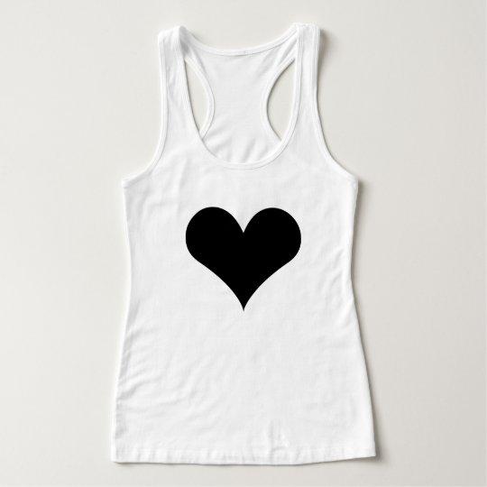 Women's Slim Fit Racerback Tank Top Black Heart
