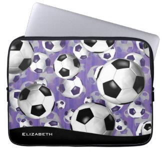 women's soccer balls pattern purple stripes laptop sleeves