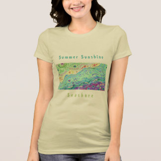 Women's Soft Cream T-shirt: Seashore Art / Text T-Shirt