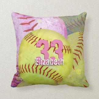Women's Softball bright yellow and pink Throw Pillow