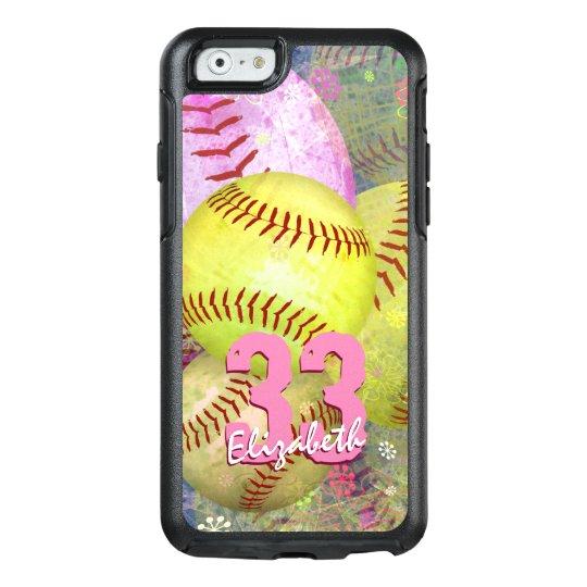 Women's Softball Pink Bright Yellow OtterBox iPhone 6/6s Case