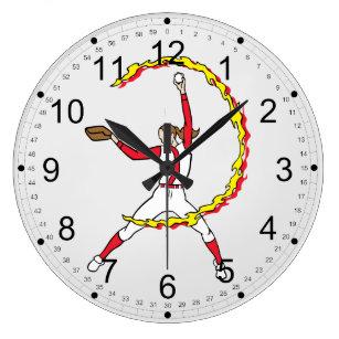 Womens Softball Pitcher Large Clock