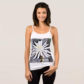 """Women's Spaghetti Strap Tank """"White Cactus Flower"""""""