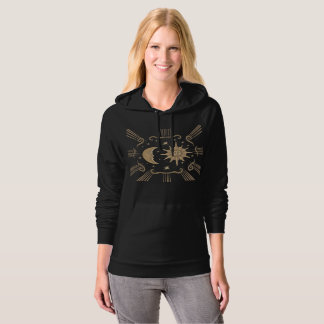 Women's sun and moon spiritual hoodie design.