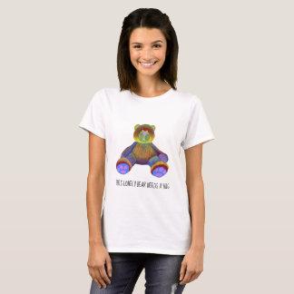 Womens t-shirt white teddy bear colorful