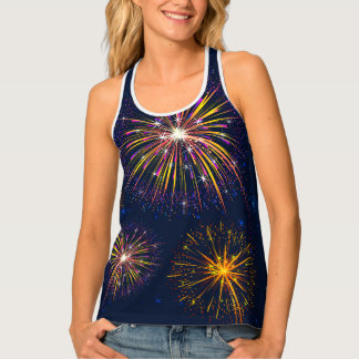Womens Tank Top-Fireworks Tank Top