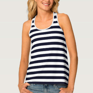 Womens Tank Top-Navy & White Stripes