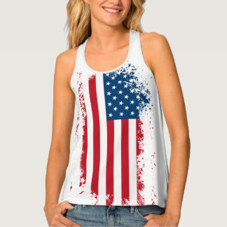 Womens Tank Top-USA Flag Tank Top