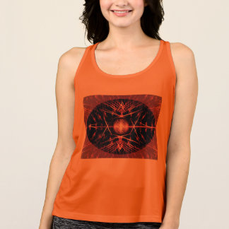 Women's Tank Top with Spiny Black and Orange Decor