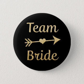 Womens Team Bride Bridesmaid gold glitter buttons