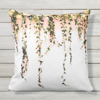 Women's Teen Girls Bohemian Peach Rose Floral Outdoor Pillow