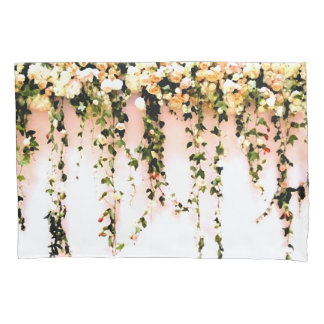 Women's Teen Girls Bohemian Peach Rose Floral Pillowcase