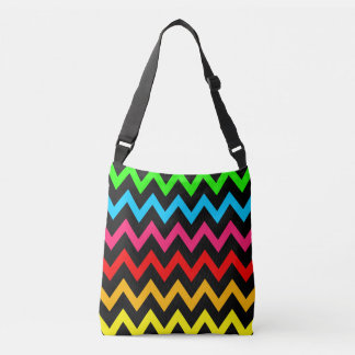 Women's Teen Girls Colorful Rainbow Chevron Crossbody Bag